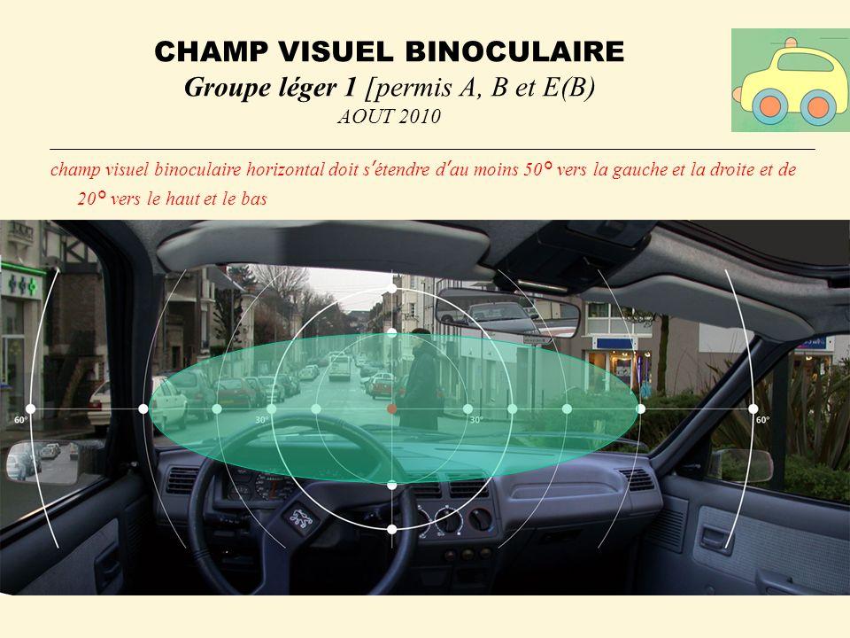 CHAMP VISUEL BINOCULAIRE Groupe léger 1 [permis A, B et E(B)
